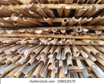 A Pile of pipes, dried bamboo.