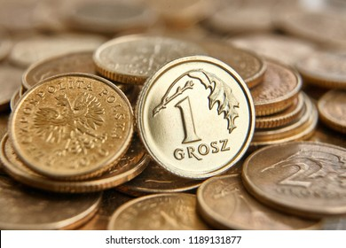 A pile of Polish money, PLN cents (grosz) coins arranged in composition - Shutterstock ID 1189131877