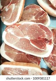 Pile of polk belly sliced, fresh food