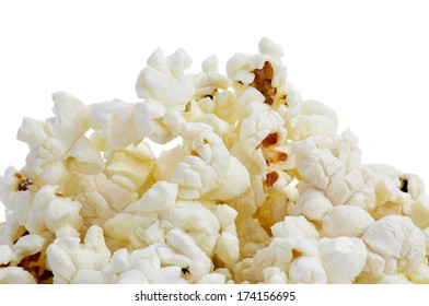 a pile of popcorn on a white background