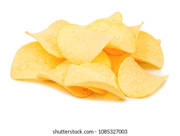 Pile of potato chips with cheese taste on a white background
