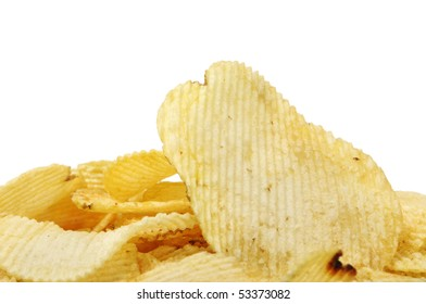 a pile of potato chips isolated on a white background