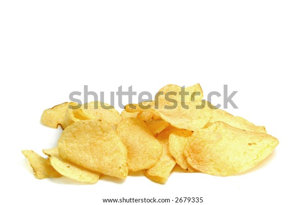 Pile of potato chips on white background