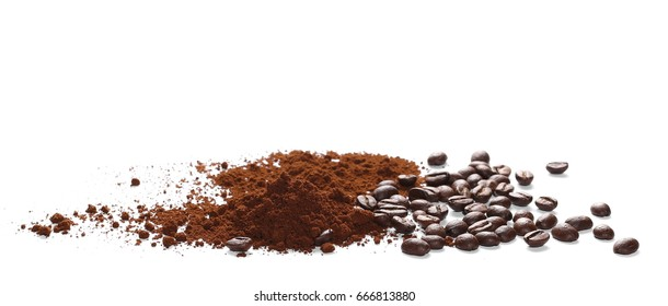 Pile of powdered, instant coffee and beans isolated on white background