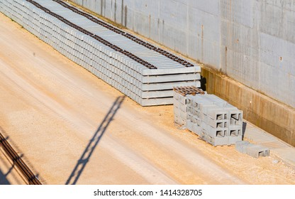 Pile of precast concrete sleepers ready for construction in trackwork