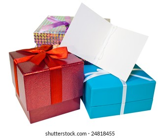 A pile of presents and a gift tag with copy space
