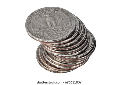 Pile of quarter dollar coins on white background