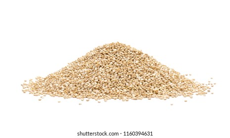 Pile of quinoa seeds seen from the side and isolated on white background