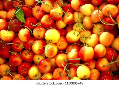 A pile of rainier cherries are  organically grown blend of Bing and Van cherries. They are a symbol of Washington summers. Background.