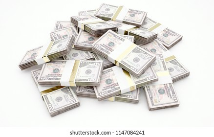 A pile of randomly scattered bundles of  banknotes on an isolated background - 3D render