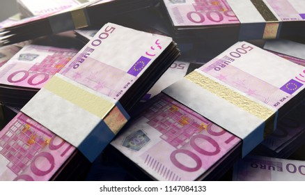 A pile of randomly scattered bundles of european euro banknotes on an isolated background - 3D render
