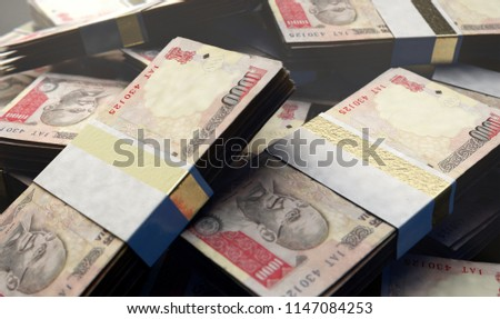 A pile of randomly scattered bundles of indian rupee banknotes on an isolated background - 3D render