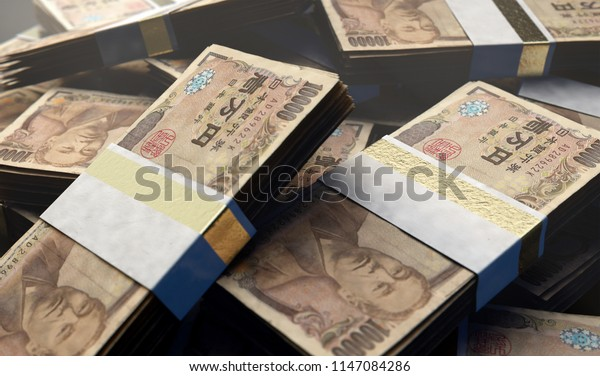 A pile of randomly scattered bundles of japanese yen banknotes on an isolated background - 3D render