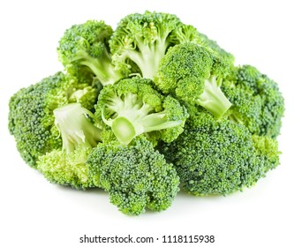 Pile of raw broccoli vegetable isolated on white background.