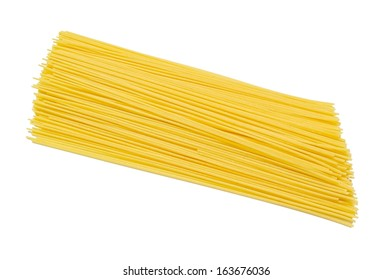 A Pile of Raw Traditional Spaghetti Isolated on White