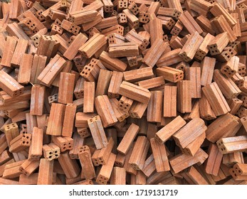 Pile of red bricks for construction