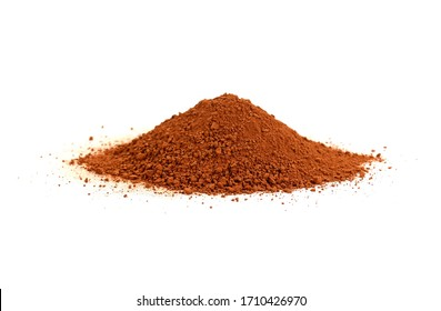 Pile of Red dirt (soil) on white. Heap of Red dry clay isolated on white background. Ochre, also spelled ocher, a natural yellow earth pigment.