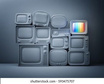 Pile of retro TV with one in standby - night scene. 3d illustration