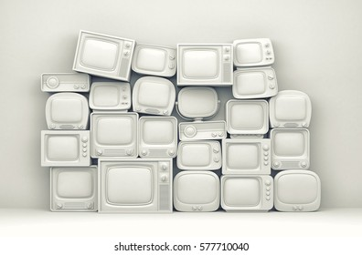 Pile of retro TV - white toned. 3d illustration