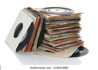 Pile of retro vinyl 45rpm singles records