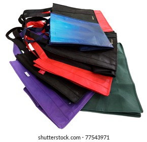 Pile of reusable shopping bags, isolated