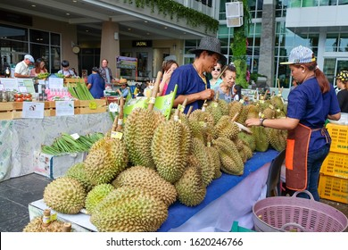 Pile of ripe delicious durian fruits. Sellers in blue uniform sell famous smelling King of fruits, seasonal fresh durians, in street market for local customers and tourists. Hua Hin,Thailand,June 2016