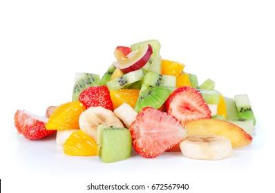 Pile of ripe fruits isolated on white background