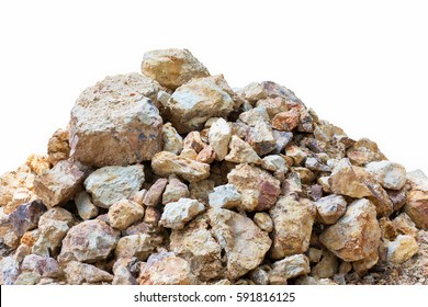 pile rock isolated.Stone on a white background.