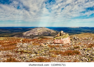 Pile of rocks on top of the Ylläs fjell in the Finnish Lapland. The nature is very harsh even in the middle of the summer.
