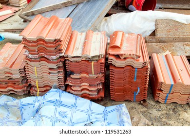 A pile of roof prepared for construction.