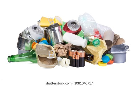 Pile of rubbish prepared for recycling isoalted on white background