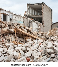 Pile of rubble and demolished building