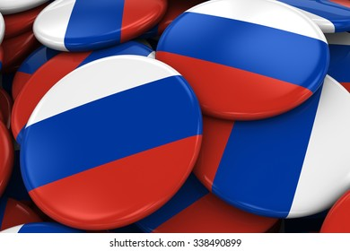 Pile of Russian Flag Badges - Flag of Russia Buttons piled on top of each other