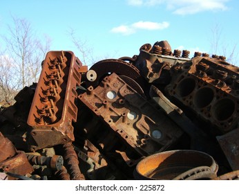 pile of rusted engines