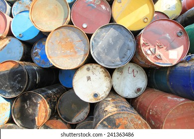 Pile of rusty fuel and chemical drums