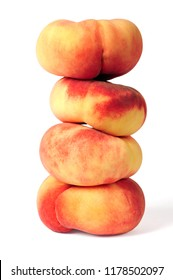 pile of saturn peaches isolated over white background