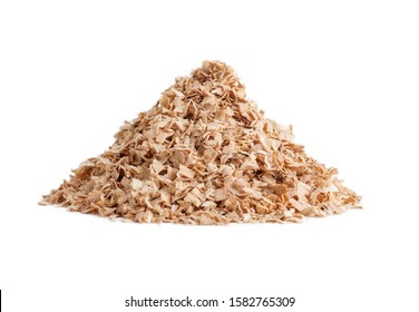 pile of sawdust isolated close-up on white