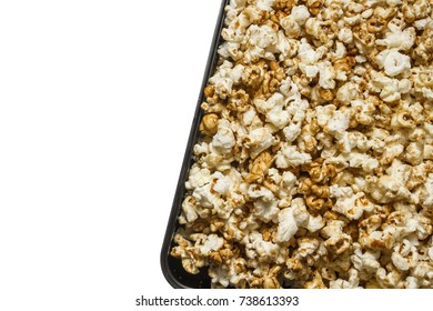 Pile scattered sweet and salt popcorn texture background.