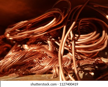 A pile of scrap copper wire.