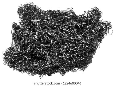 Pile scraps metal shavings isolated on white background