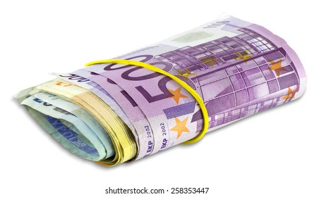 Pile scroll of Euro banknotes isolated on a white background