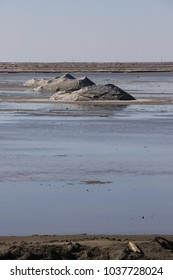 Pile of sea salt in a saline in the Camargue, Provence in south of France