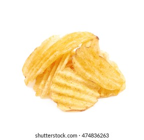 Pile of seasoned potato chip crisps isolated over the white background