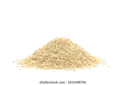 Pile sesame seeds isolated on white background