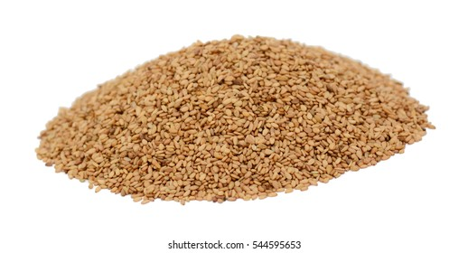 Pile of sesame seeds isolated on white background