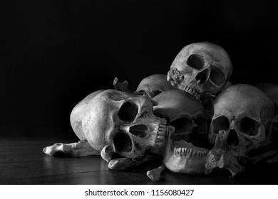 Pile of skulls and bones put on dark wooden plank which has dim light and the dark wall background / Selective focus, Still Life and space for texts and adjustment color black and white image