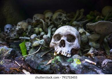 The pile of skulls at burial site of Bori Parinding, Tana Toraja, South Sulawesi, Indonesia