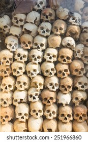 "Pile of skulls ""Killing Field"" at Siam Reap, Cambodia."