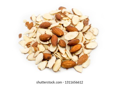Pile of sliced almonds on white background top view