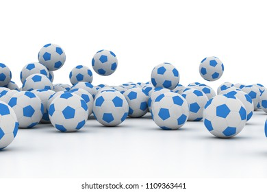 Pile of Soccer footballs isolated on white background. 3d illustration